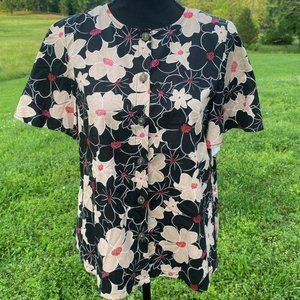 NWT Who What Wear Tribeca Floral High Low Top XS